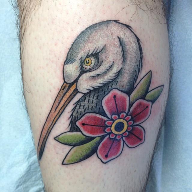 flower and stork