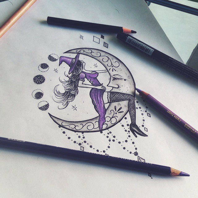 moon Riding Witch Tattoo Sketch