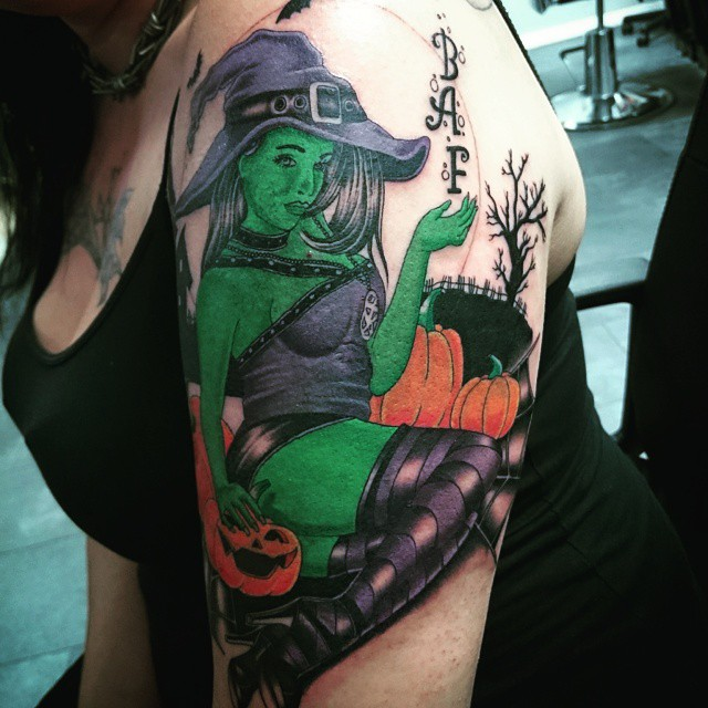 Very Green Witch Tattoo on Shoulder