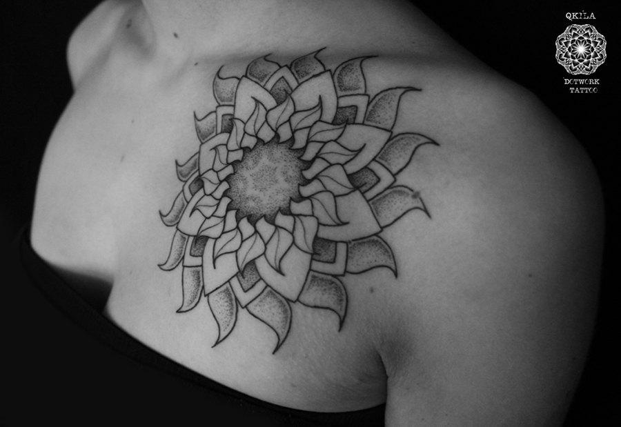 dotwork tattoo mandala sun on collar bone
