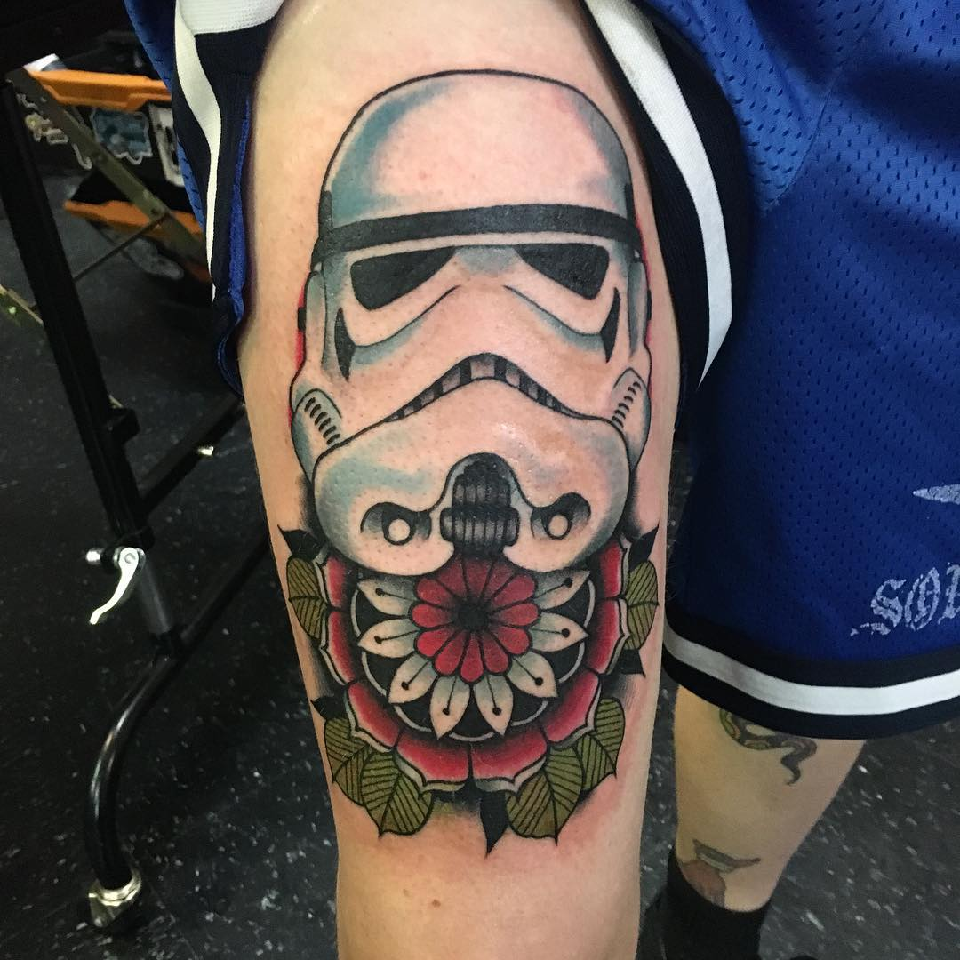 new school stormtrooper and rose tattoo