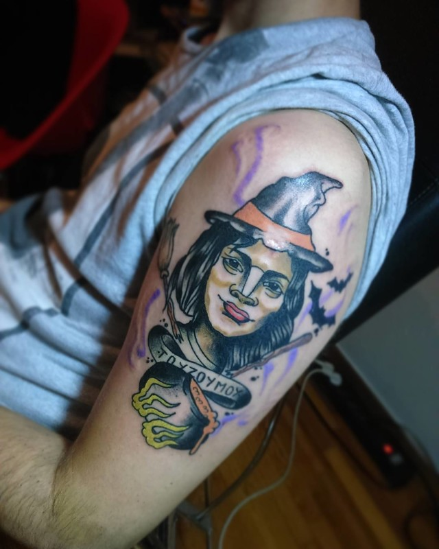 Shoulder Portrait Pointy Hat Witch Tattoo