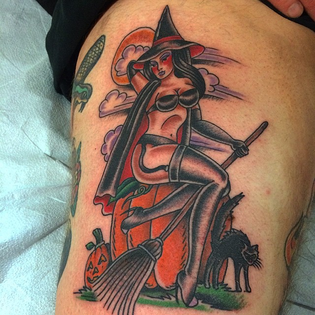 Broom Witch on Pumpkin Tattoo