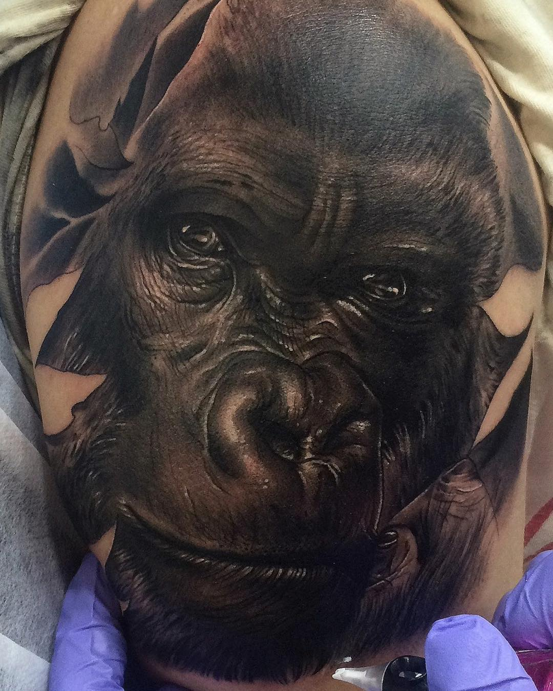 realistic tattoo - close-up face of gorilla in black and gray shades