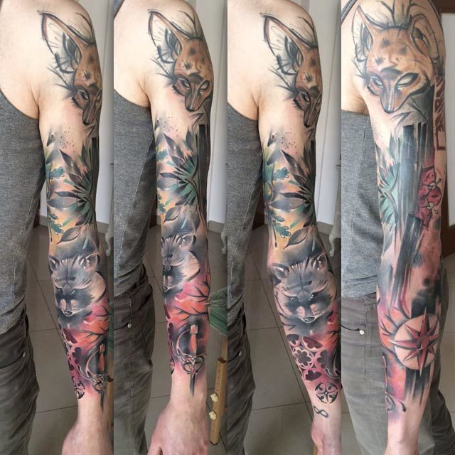 sleeve tattoo with animals