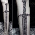 Authentic Sword Tattoo on Leg