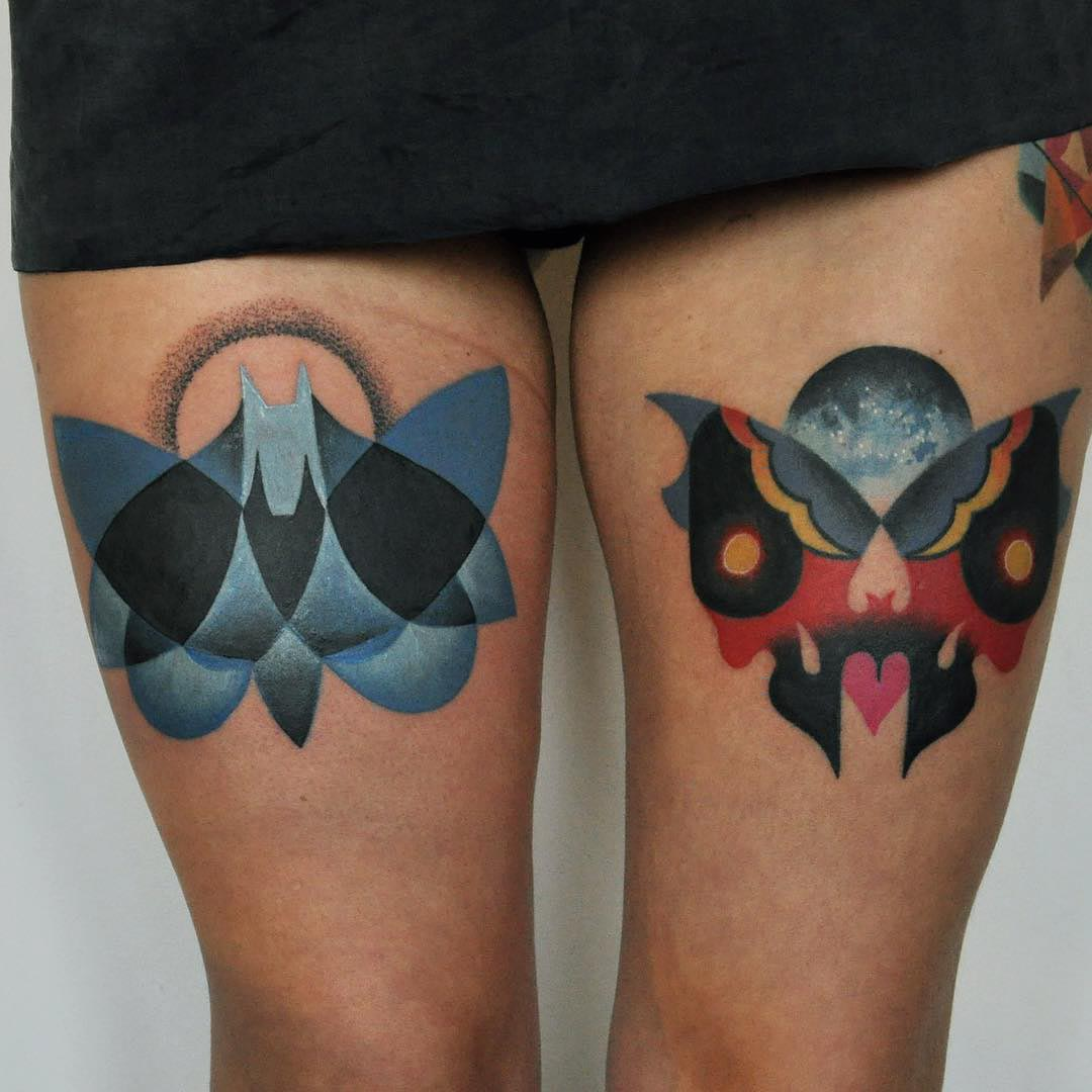 abstract thigh butterfly tattoo ideas