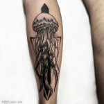 Calf Dotwork Jellyfish Tattoo