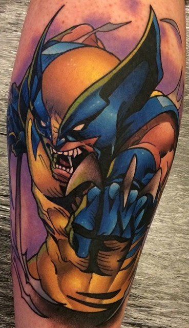 marvel wolverine tattoo on calf