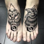 dotwork tattoos on feet