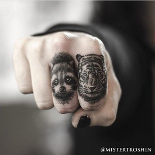 Coon and Tiger Finger Tattoos