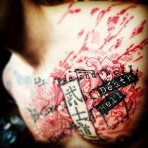 Word Trash Polka Tattoo on Chest