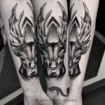 black and grey tattoo deer