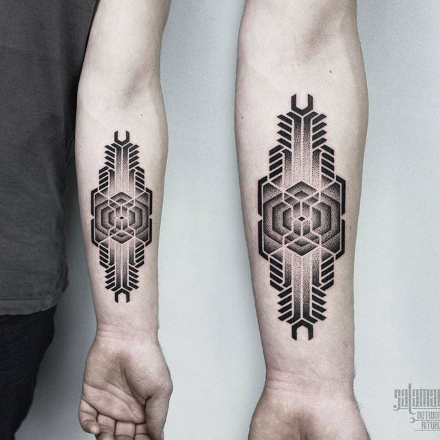 arm dotwork tattoo geometry