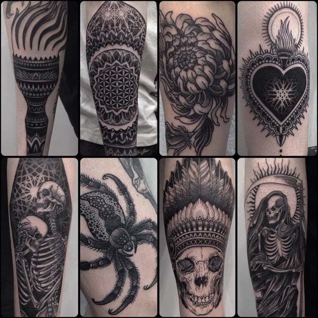The picture is nothing but a mash up of coolest tattoos dotwork by