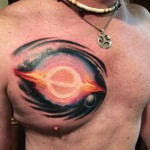 Dying Black Hole Tattoo on Chest