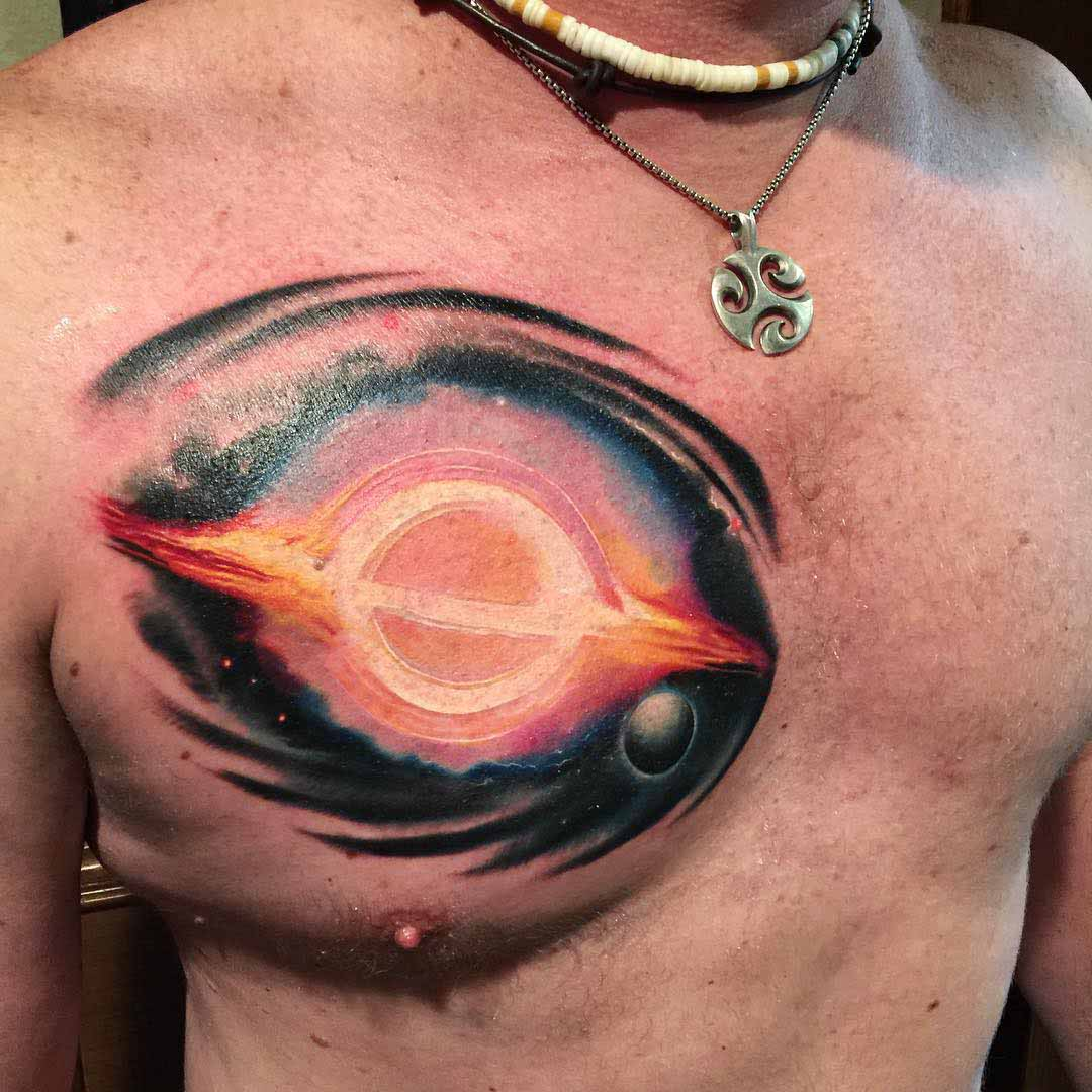 black hole tattoo on chest