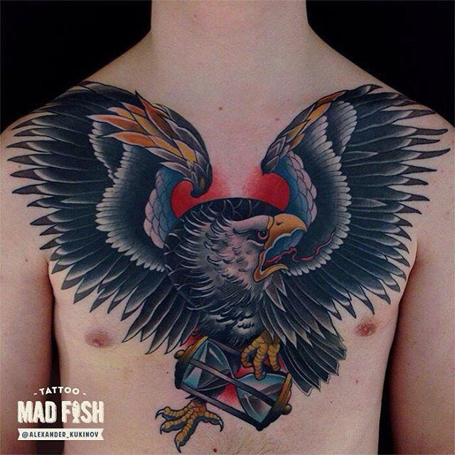 big eagle tattoo on chest