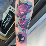three pokemon tattoos on arm