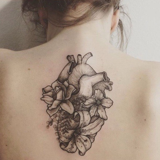 back flower heart tattoo
