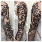 Etching Flower Tattoo Sleeve
