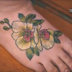 foot cute flower tattoo
