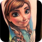 cartoon Frozen Anna Tattoo