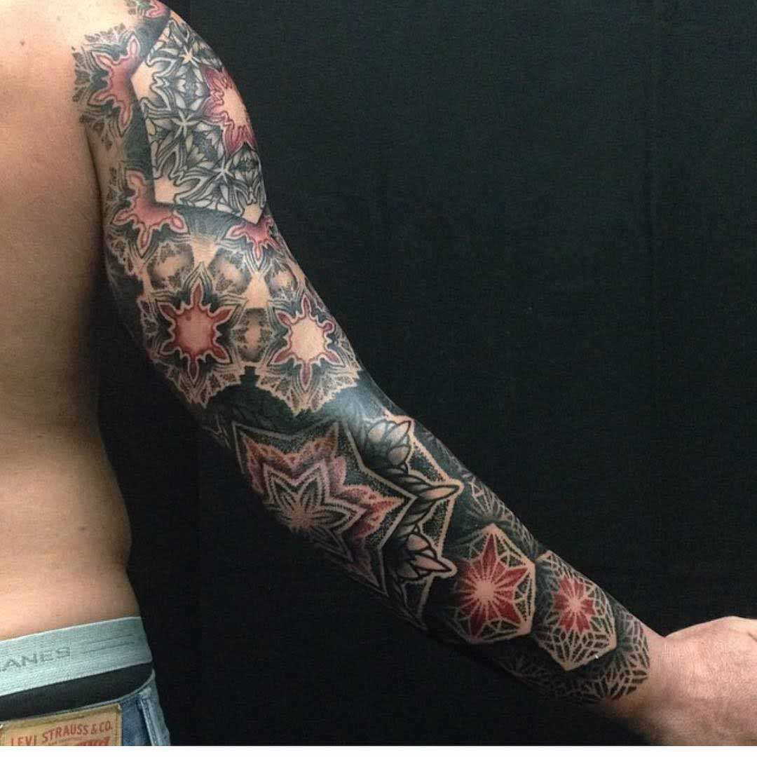 full dotwork tattoo sleeve on arm