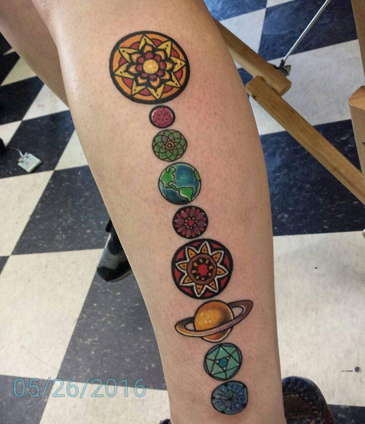 Geometric mandala solar system tattoo