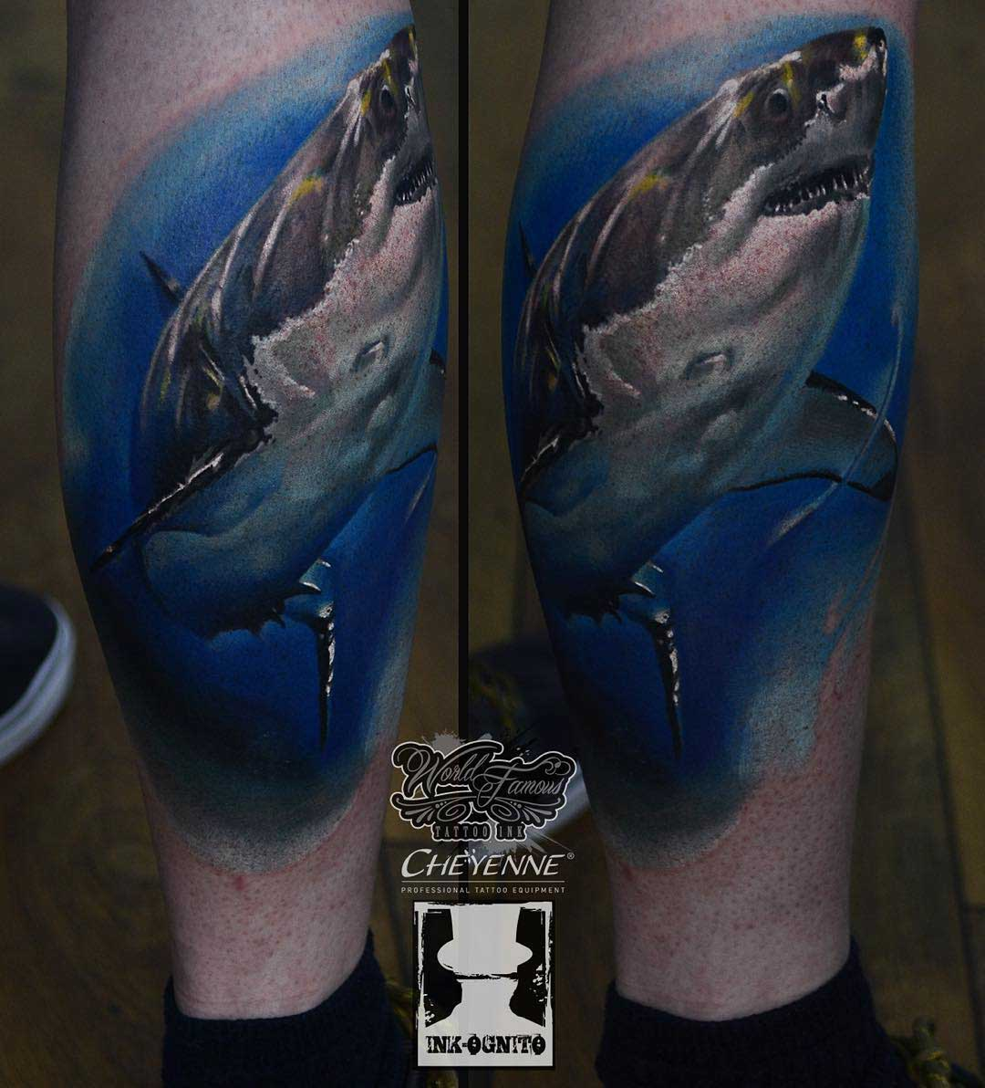 leg shark tattoo
