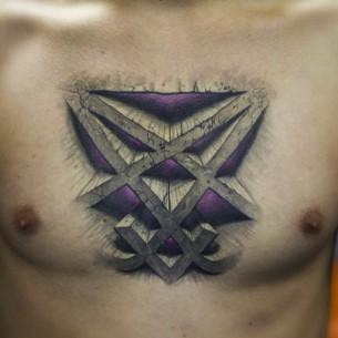 Heartagram Tattoo on Chest
