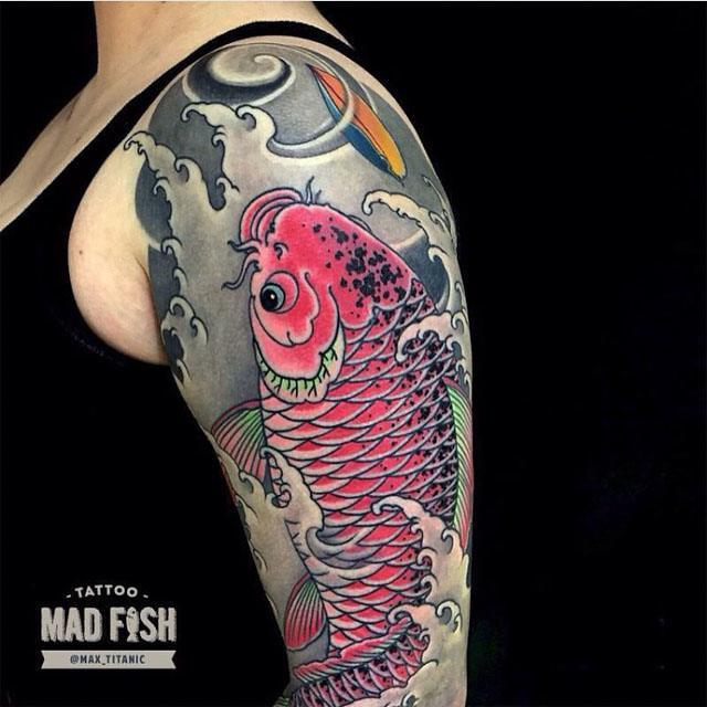 shoulder fish japanese tattoo