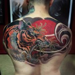 Japanese Tiger Tattoo on back