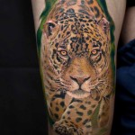 realistic leopard tattoo thigh