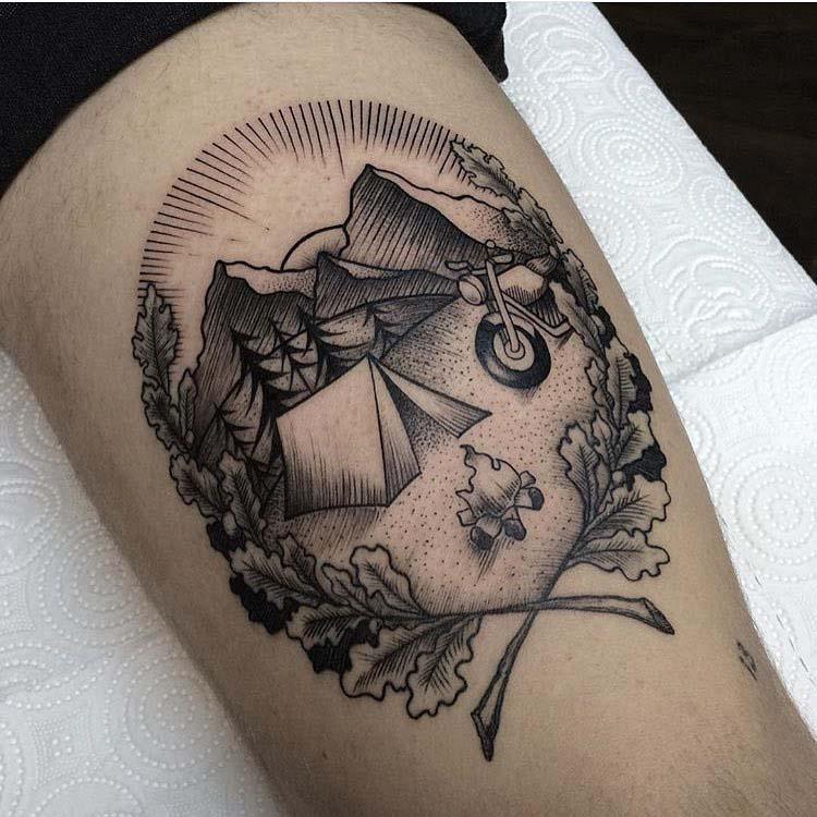biker travelling tattoo dotwork style