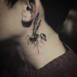 Neck Wasp Tattoo