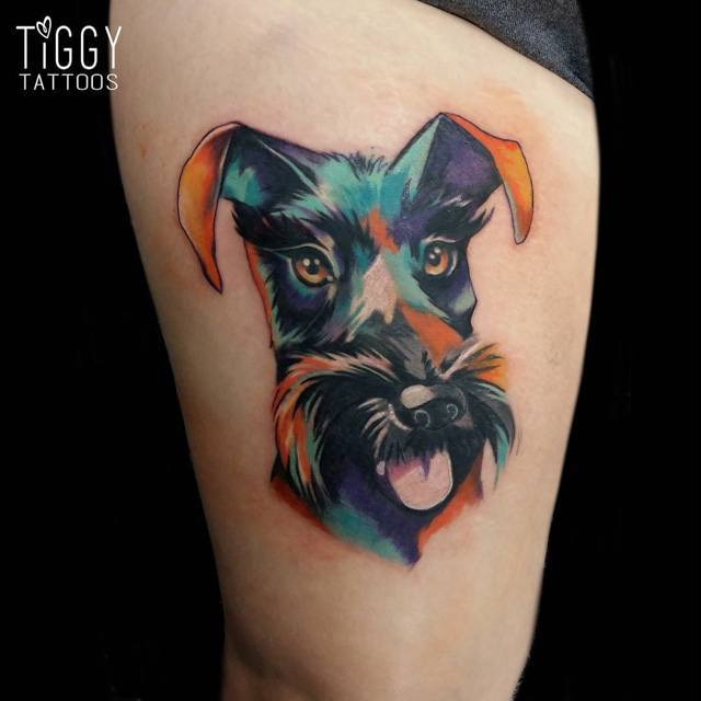 dog face tattoo watercolor