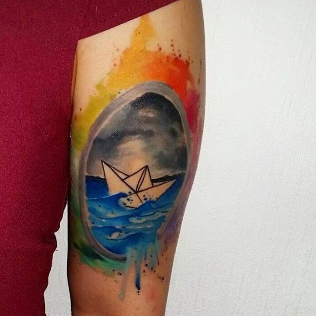arm tattoo paper ship