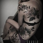 girl body peony flower tattoos