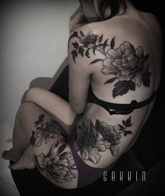 girl body peony flower tattoos