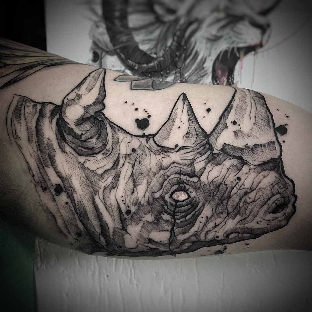 Rhino Tattoo On Bicep Best Tattoo Ideas Gallery