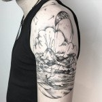Shoulder Tropical Island Tattoo