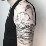 Shoulder Tropical Island Tattoo