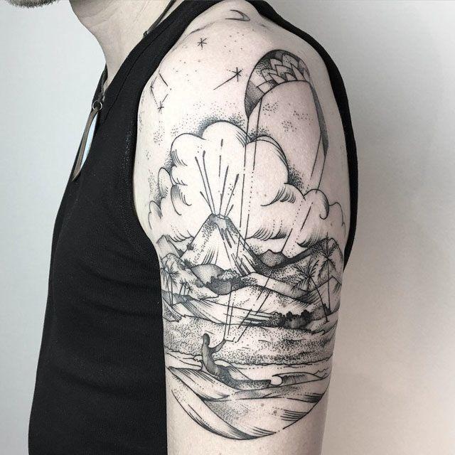 shoulder tropical island tattoo best tattoo ideas gallery. Black Bedroom Furniture Sets. Home Design Ideas