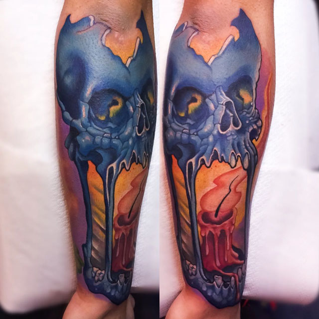skull candle tattoo lantern