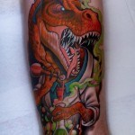 new school dino tattoo by T-Rex Scientist Tattoo