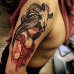 Warrior girl watercolo tattoo on shoulder