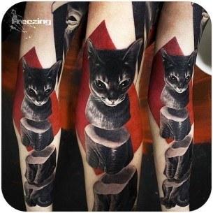 Three Parts Cat Tattoo