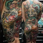 full back and thighs japanese tattoo