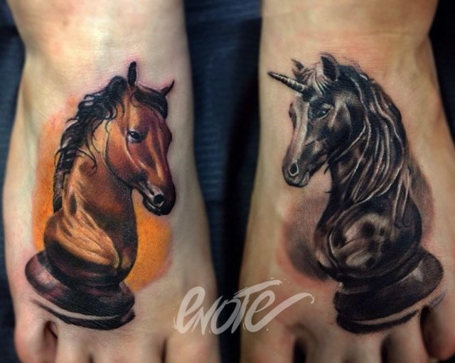foot chess pieces tattoos